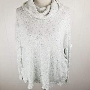 Anthropologie postmark white ruffle cowl sweater